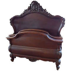 Pair of Solid Mahogany Carved Twin Beds by R.J.Horner and Co.