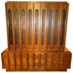 Brutalist Mid-Century Modern Credenza or Hutch or China Cabinet