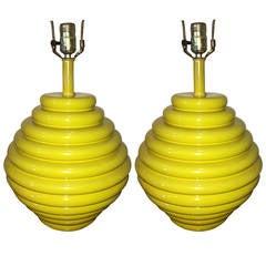 Pair of Beehive Shaped Ceramic Lamps