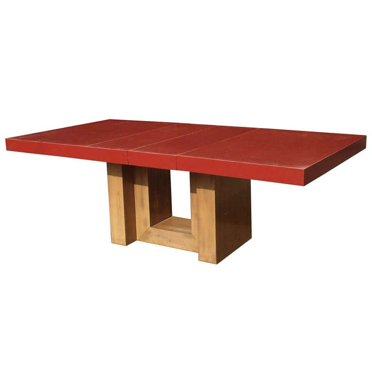 Red Dining Room Table: Expandable Dining Table With Red Lacquered Top By Paul