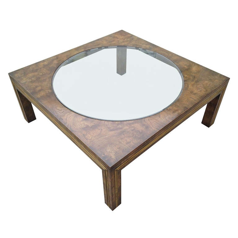 Burl Wood And Brass Coffee Table By Bernard Rohne For Mastercraft For Sale At 1stdibs