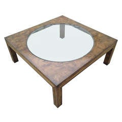 Burl-Wood and Brass Coffee Table by Bernard Rohne for Mastercraft
