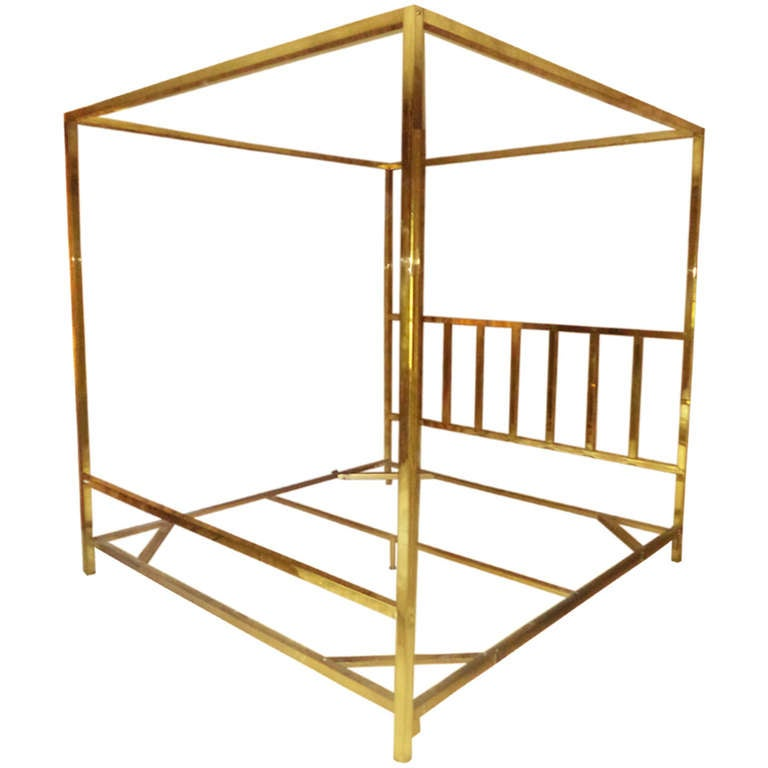 king size brass four poster canopy bed by pace 1
