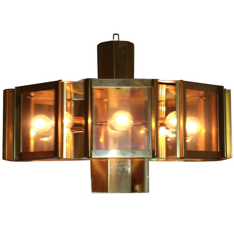 Large Octagonal Brass Chandelier by Robert Sonneman