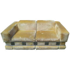 Milo Baughman Style Hollywood Regency Sofa with Chrome Panels