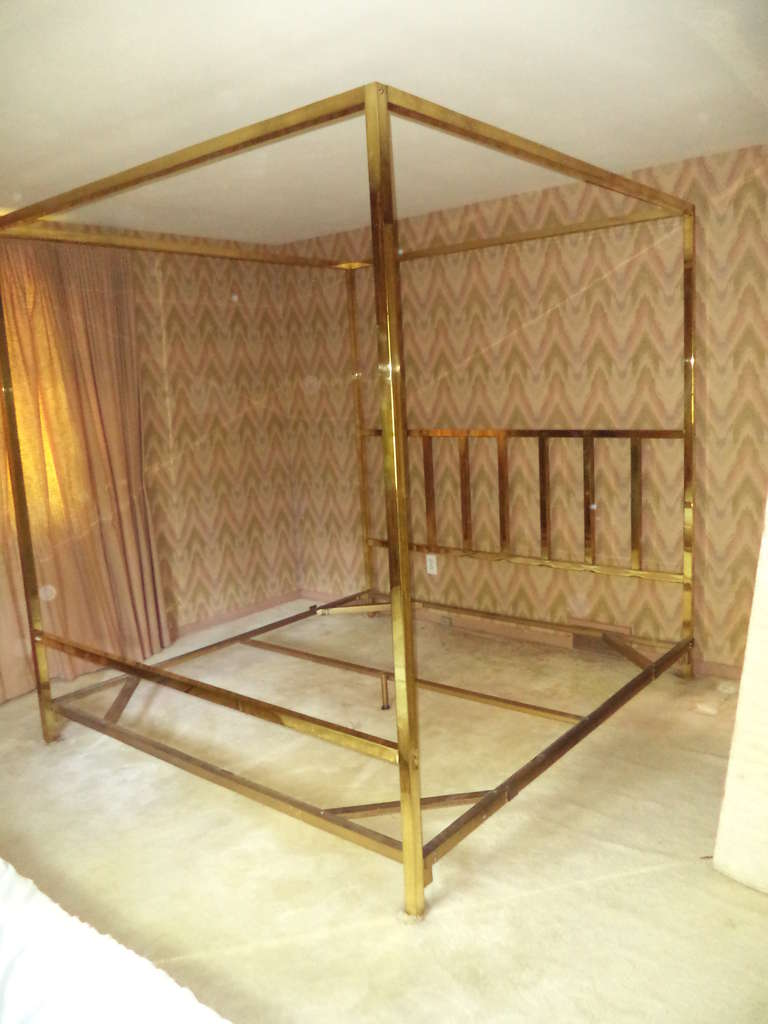 American King Size Brass Four Poster Canopy Bed by Pace For Sale & King Size Brass Four Poster Canopy Bed by Pace at 1stdibs