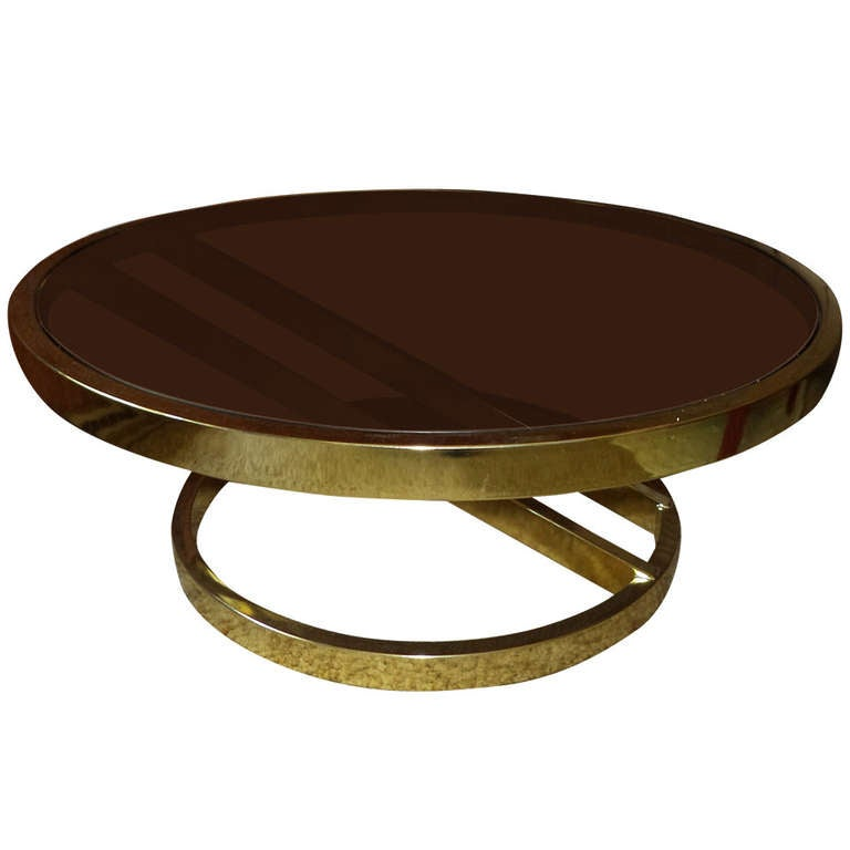 Milo Baughman Round Brass And Smoked Glass Table