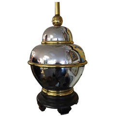 Hollywood Regency Chrome and Brass Table Lamp