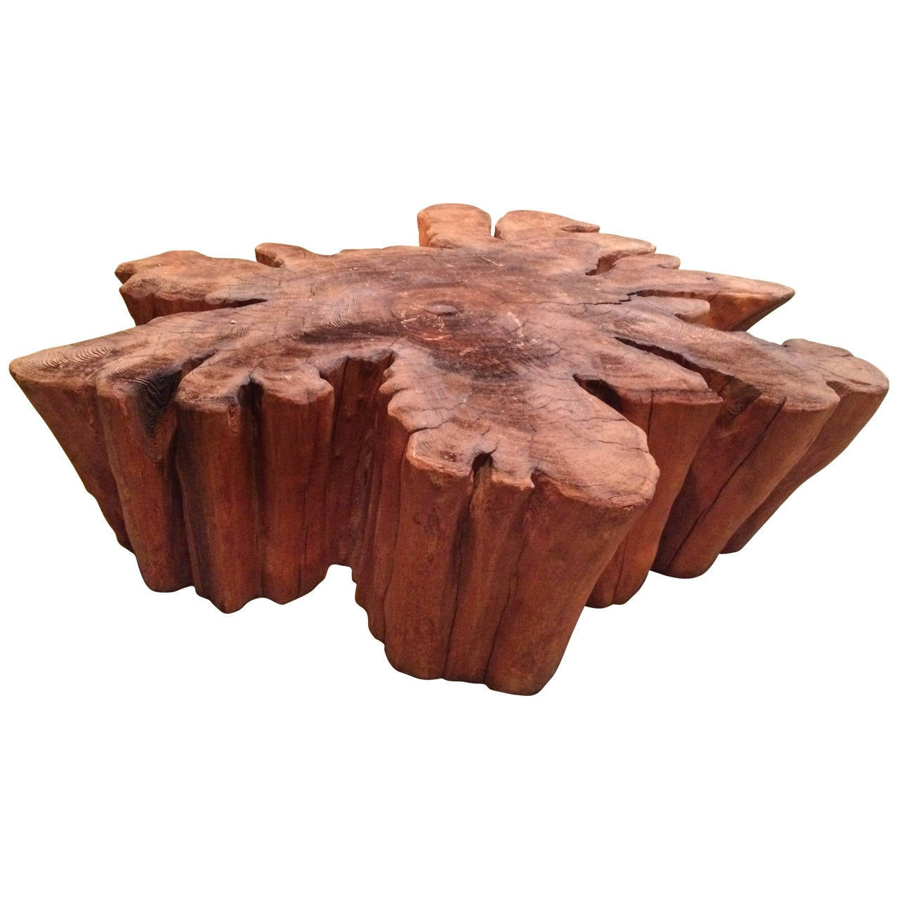 Slab Coffee Table: Redwood Live Edge Slab Coffee Table At 1stdibs