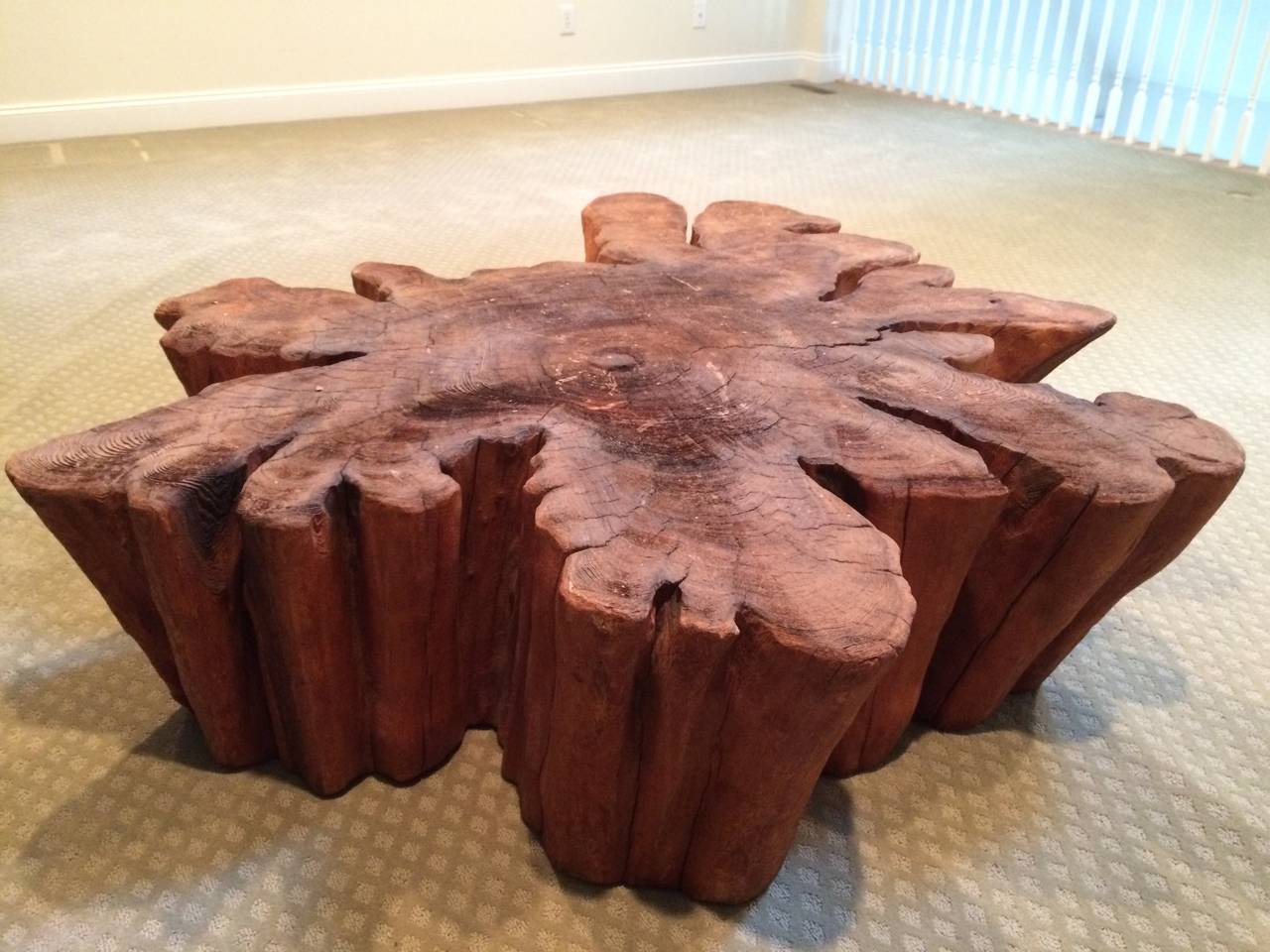 Mid Century Modern Redwood Live Edge Slab Coffee Table For