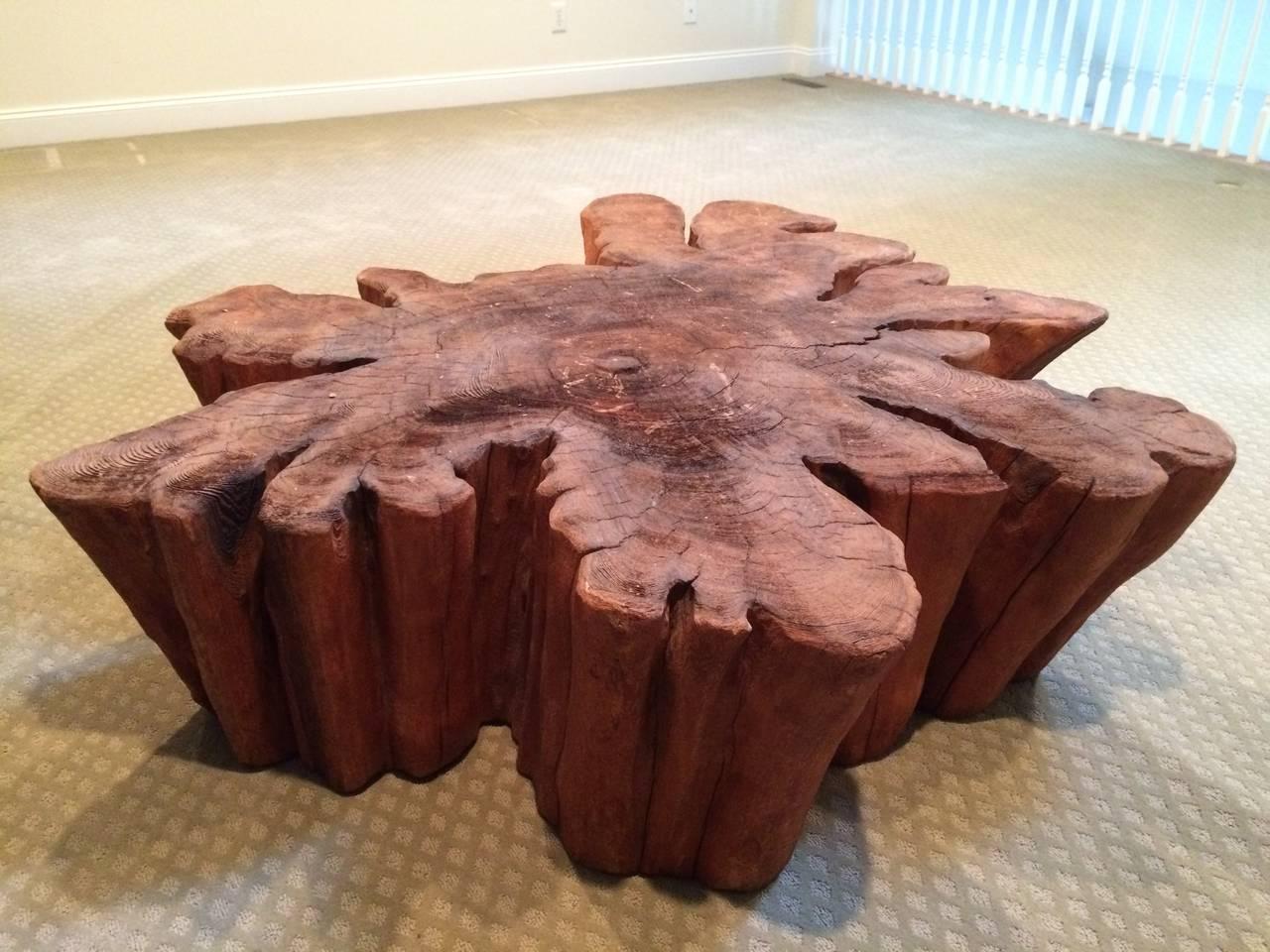 Redwood Live Edge Slab Coffee Table At 1stdibs