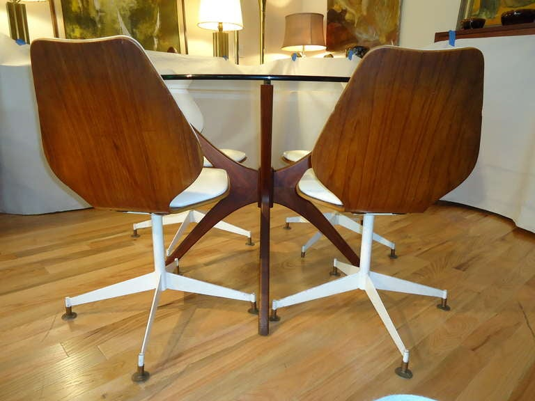pearsall jacks dining table with bentwood swivel chairs at 1s