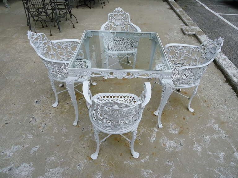 Antique Neoclassical Cast Iron Patio Set 4