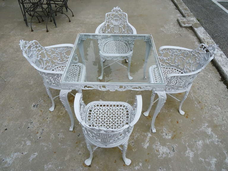 Antique Neoclassical Cast Iron Patio Set 3