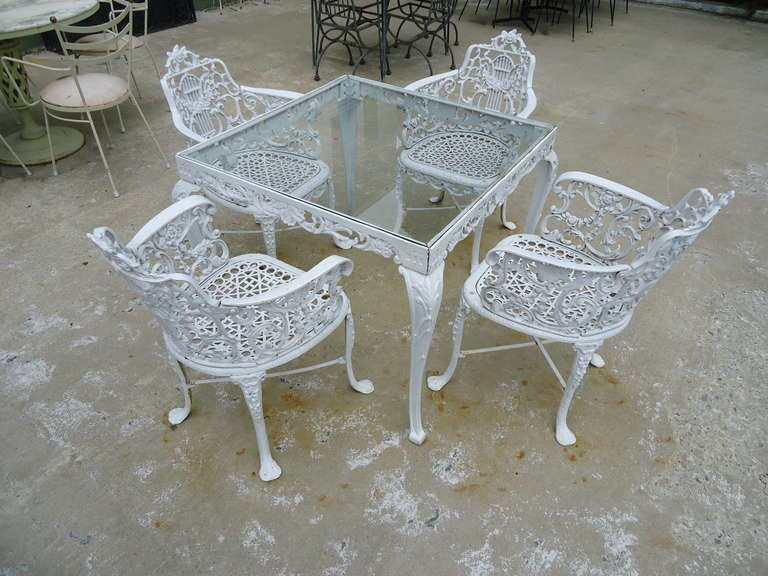 Antique Neoclassical Cast Iron Patio Set 2