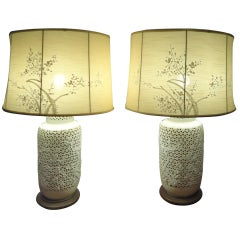 Pair Of Blanc De Chine Lamps With Silk Shades