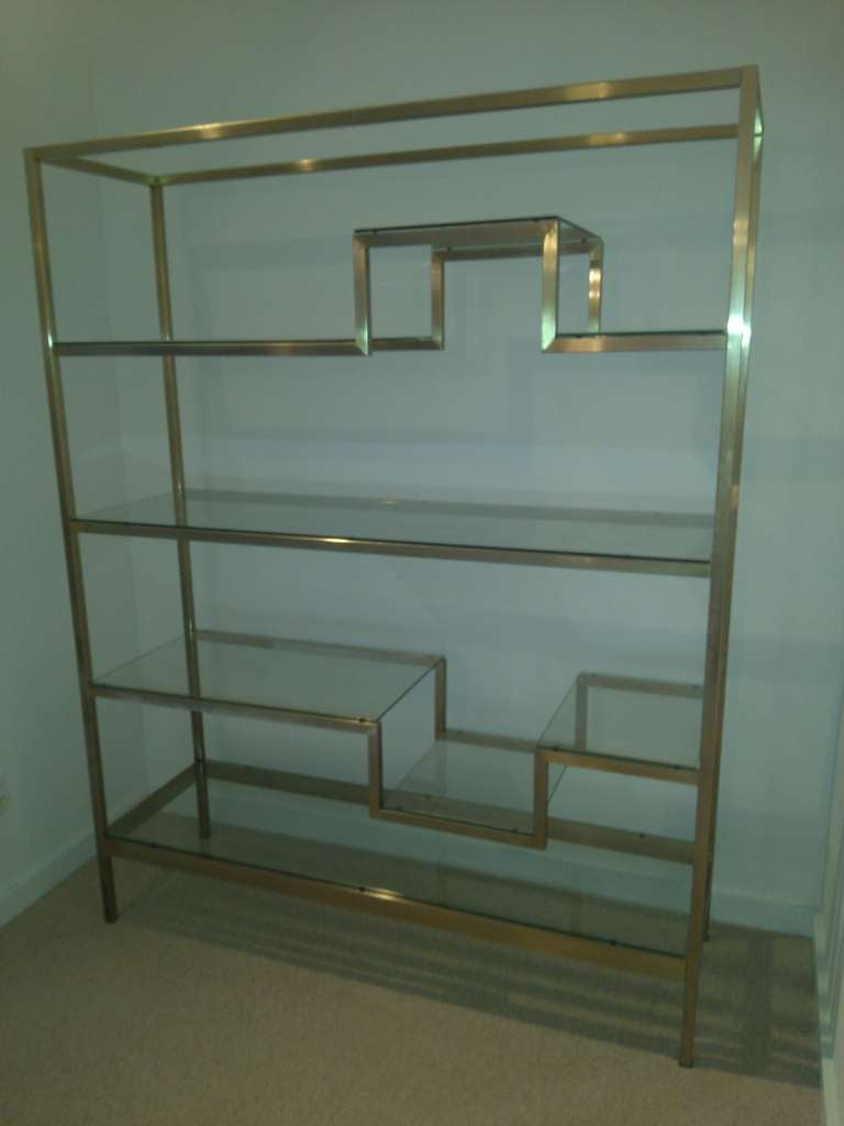 milo baughman style etagere with antique brass finish at 1stdibs. Black Bedroom Furniture Sets. Home Design Ideas