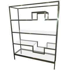 Milo Baughman Style  Etagere With Antique Brass Finish