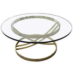 Milo Baughman Round Brass Table