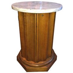 Round Cabinet Table with Marble Top