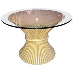 McGuire Round Bamboo Table with Glass Top