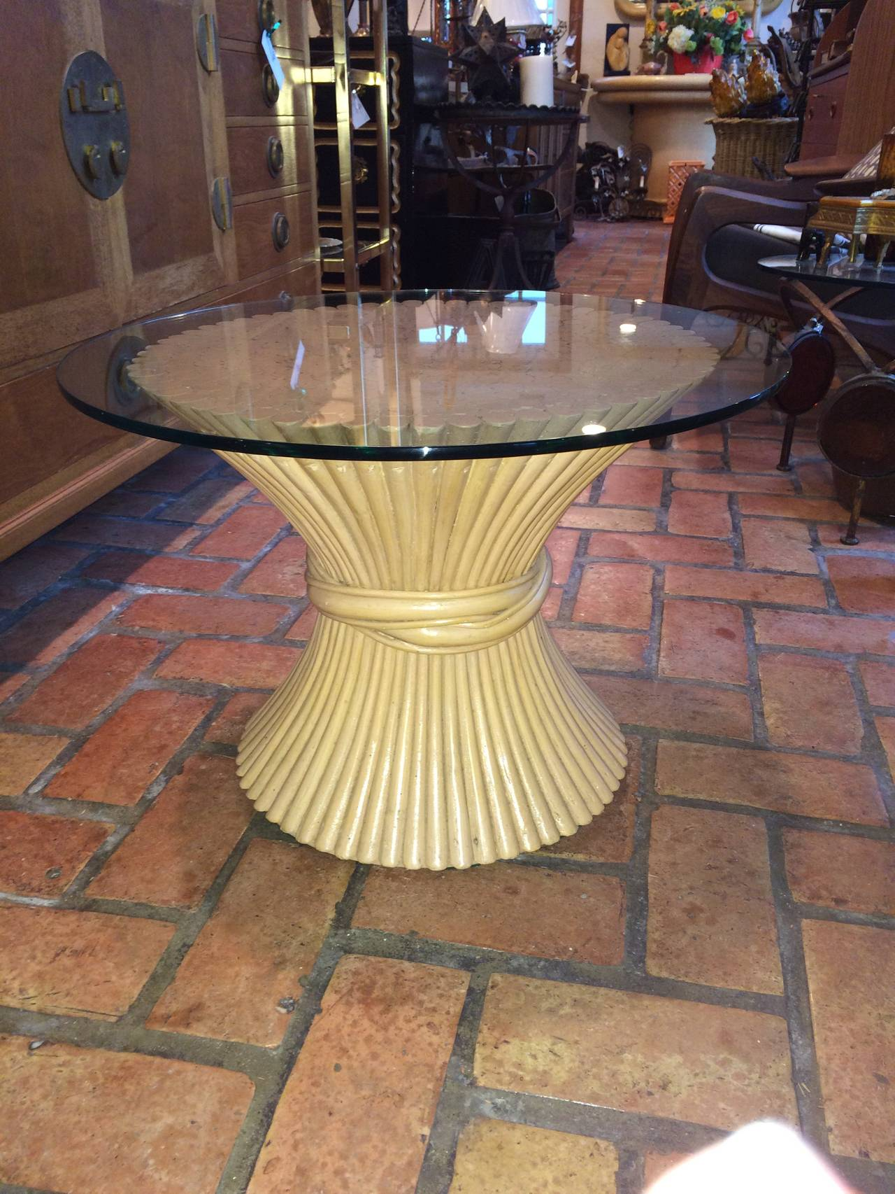 Hollywood Regency McGuire Round Bamboo Table with Glass Top For Sale