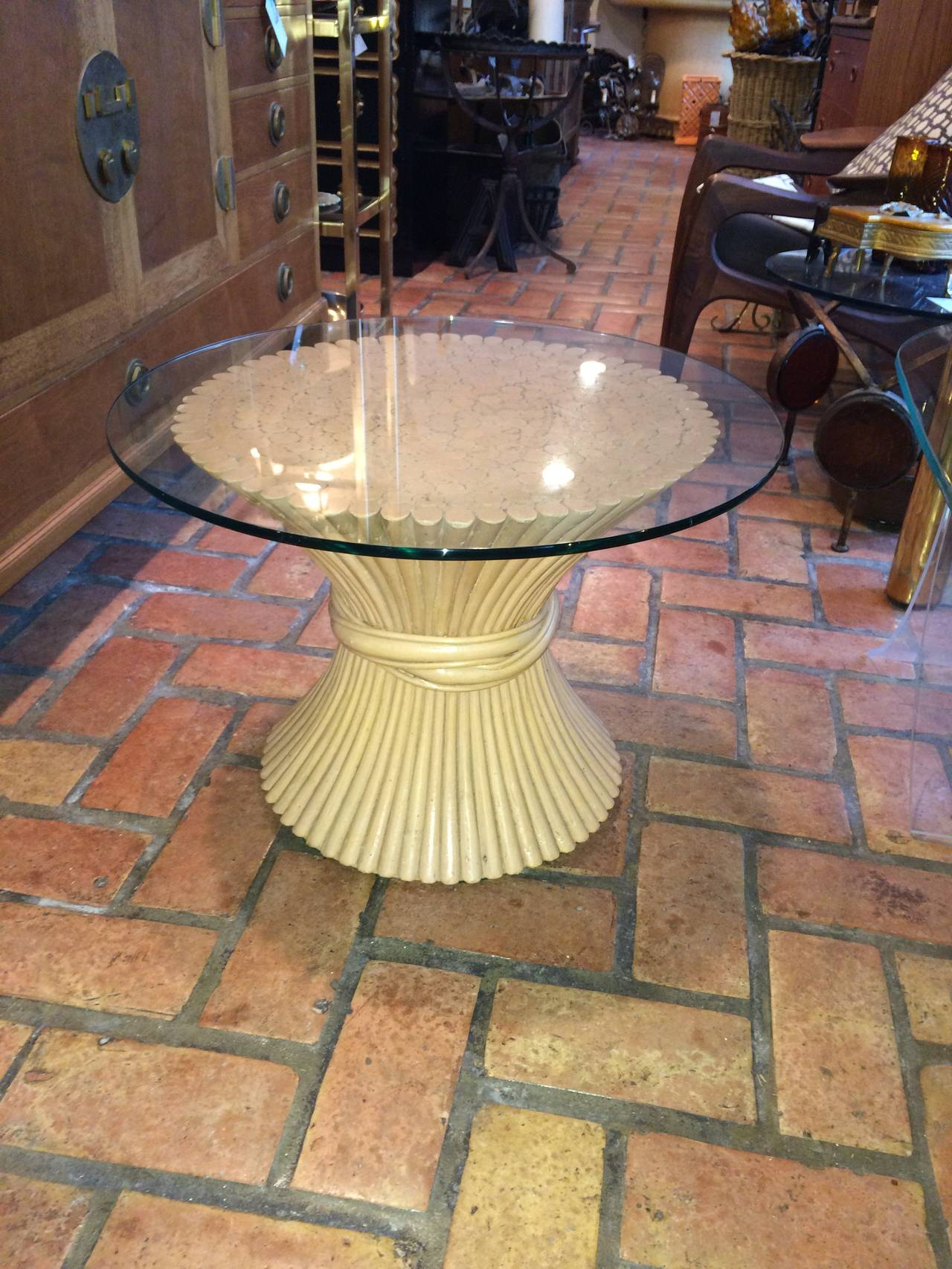 McGuire Round Bamboo Table with Glass Top In Excellent Condition For Sale In Redding, CT