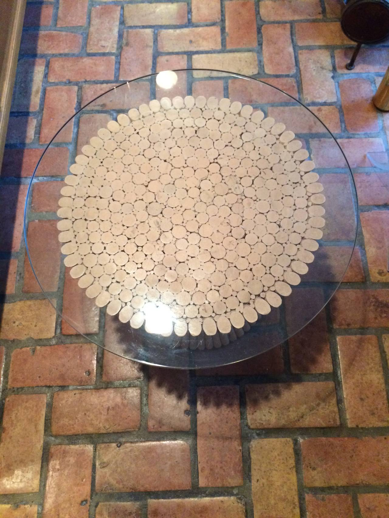 McGuire Round Bamboo Table with Glass Top For Sale 1