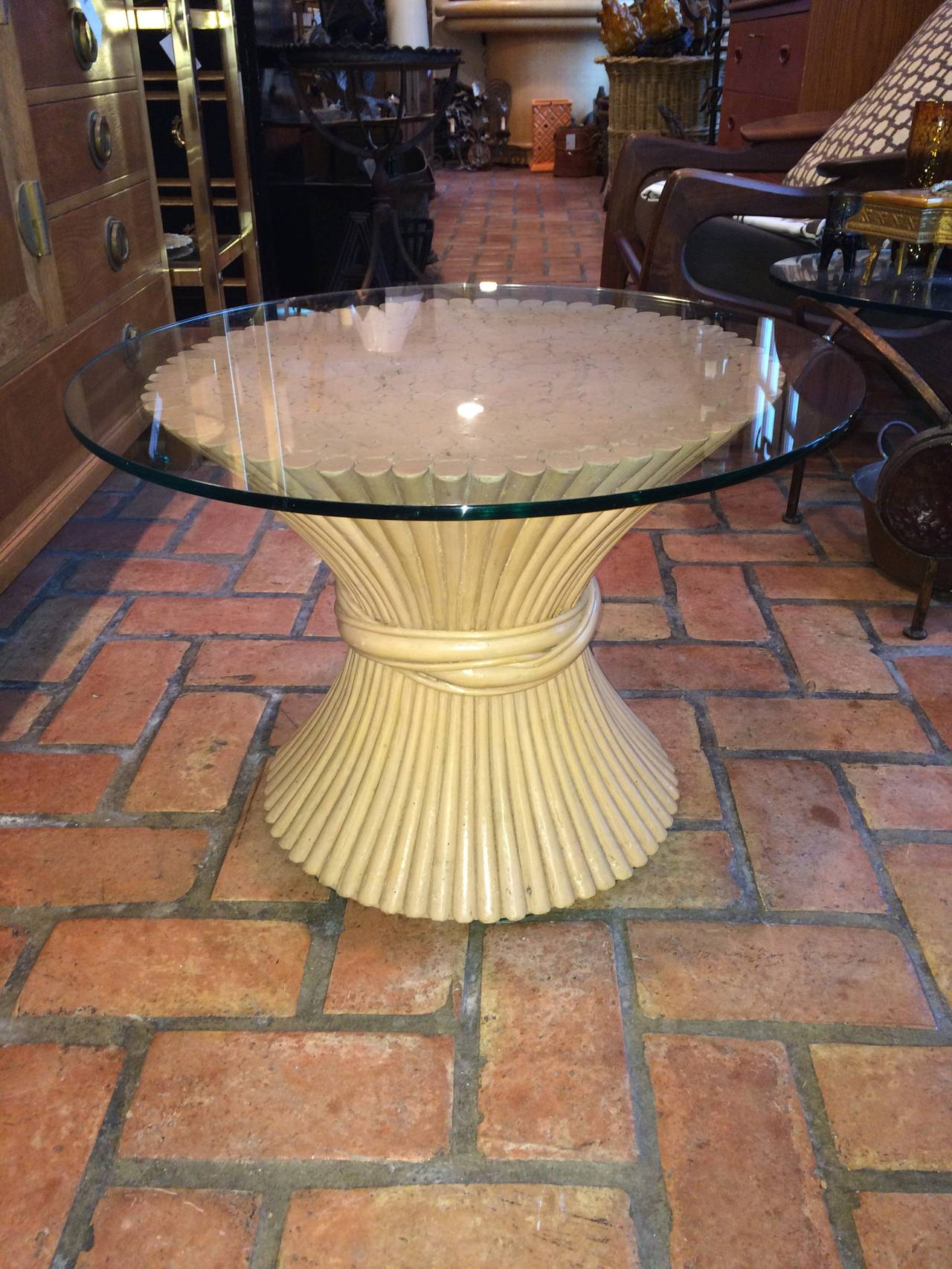 McGuire round wheat sheaf bamboo table with glass top. Two available.