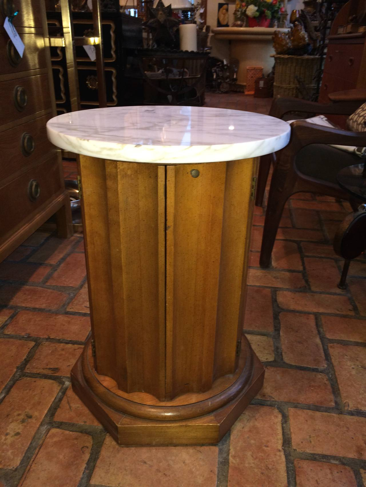 Round Cabinet Table With Marble Top For Sale At 1stdibs