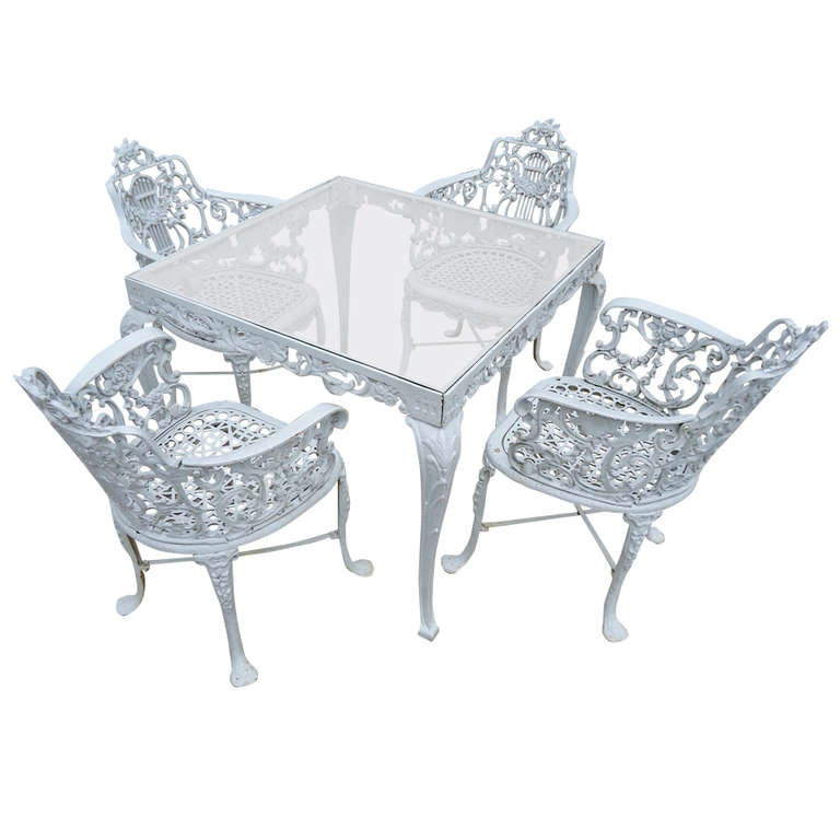 Antique Neoclassical Cast Iron Patio Set