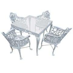Antique Neoclassical Cast Iron Patio Set