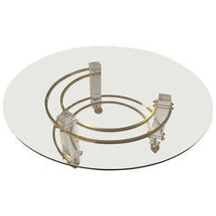 Hollywood Regency Lucite and Brass Coffee Table