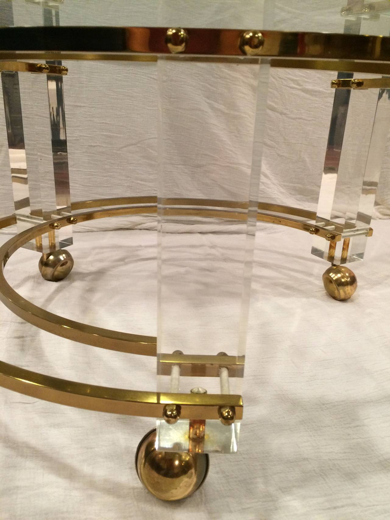 Hollywood Regency Lucite And Brass Coffee Table At 1stdibs