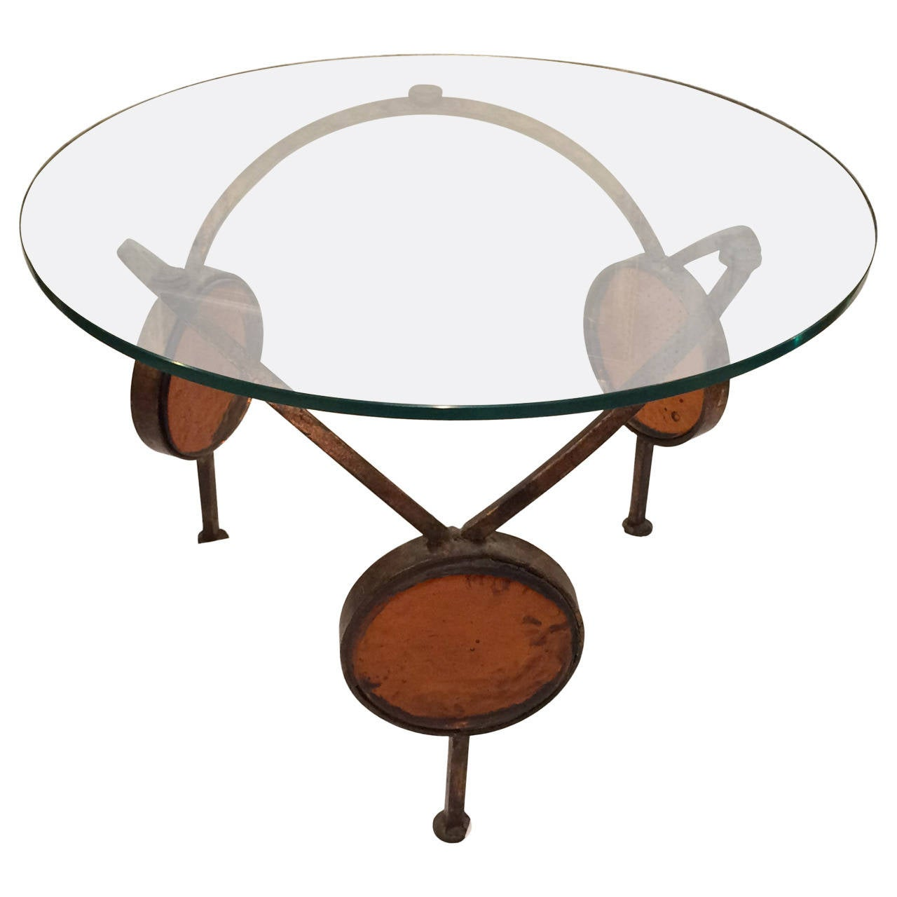 Italian Gold Gilt Iron And Glass Faux Bamboo Metal Square: Gilt Iron And Blown Glass Artisan Table For Sale At 1stdibs
