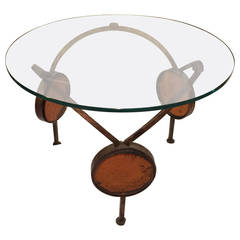 1960's Gilt Iron and Blown Glass Sculptural Artisan Table