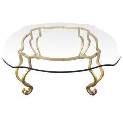 Gilt Iron and Scalloped Glass Coffee Table