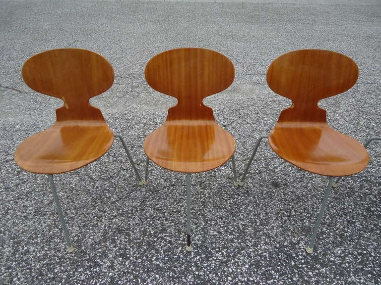 Rare Set of Six Arne Jacobsen Ant Chairs with Drop-Leaf Table For Sale 5