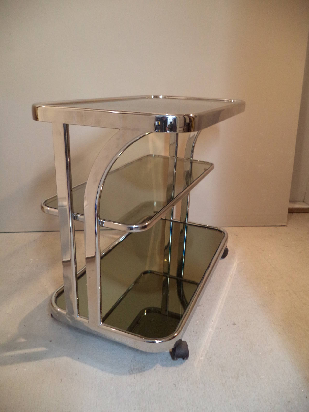 Milo Baughman Mirrored Chrome Bar Cart At 1stdibs
