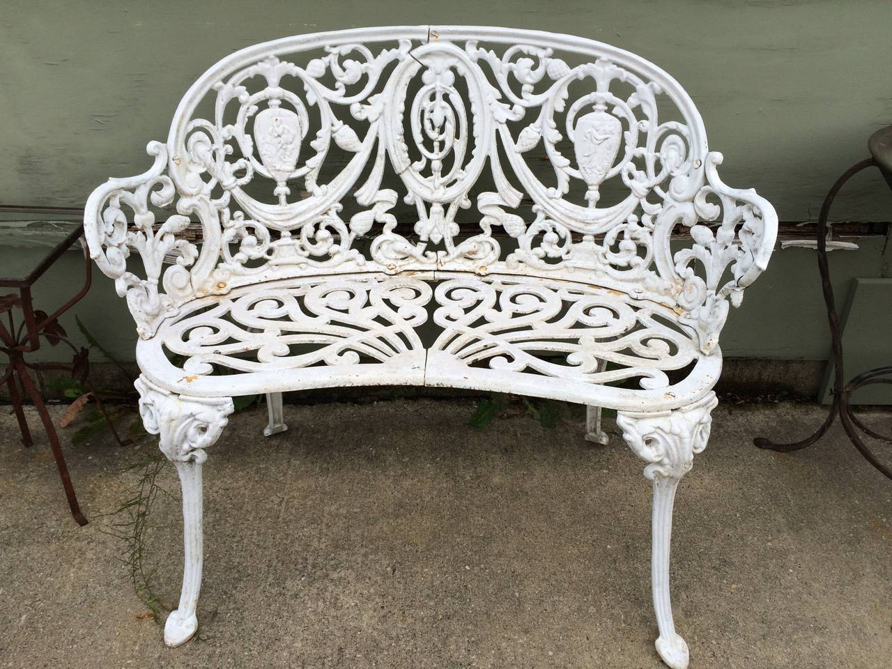 Vintage Cast Iron Garden Bench 2