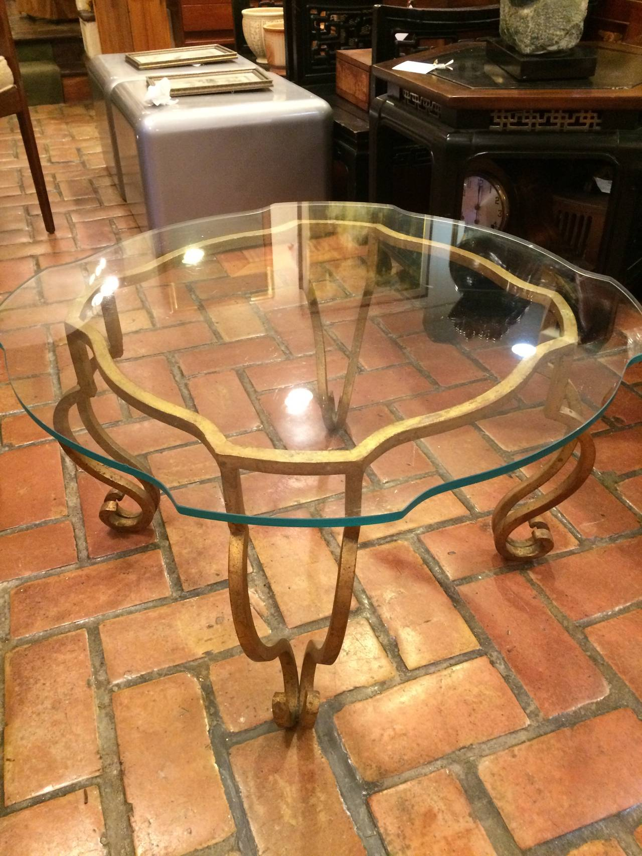 Gilt Iron And Scalloped Glass Coffee Table For Sale At 1stdibs