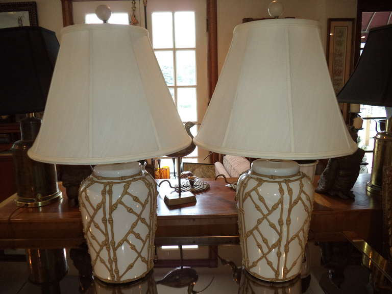 Pair Of Hollywood Regency Chinoiserie Faux Bamboo Table Lamps With Shades.  Raised Bamboo Latticework Relief