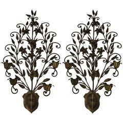 Pair of Hand Wrought Iron Floral Wall Sconces