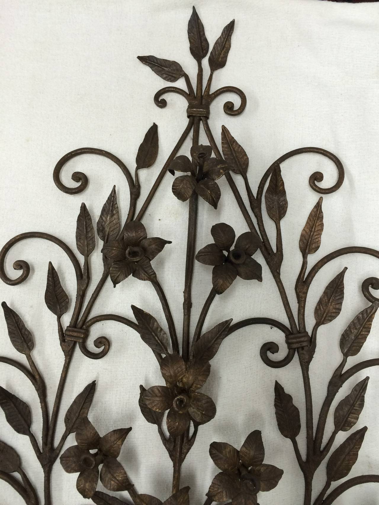 Wrought Iron Wall Decor Flowers : Pair of hand wrought iron floral wall sconces for sale at