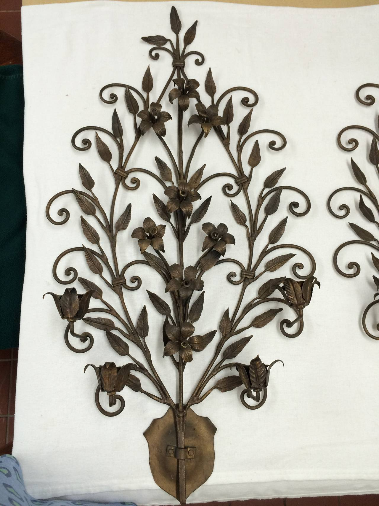 Wall Sconces Wrought Iron : Pair of Hand Wrought Iron Floral Wall Sconces For Sale at 1stdibs