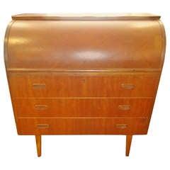 Mid-Century Teak Cylinder Desk