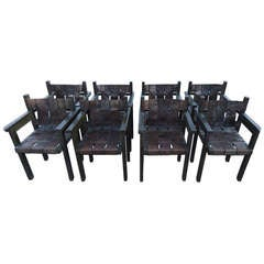 Set Of 8 Weaved Leather Chairs With Brass Studs