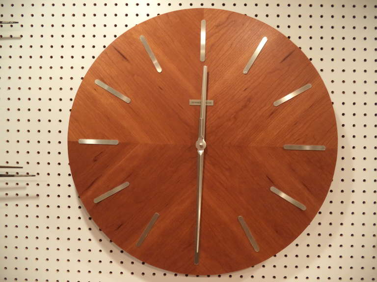 Mid Century Modern Teak Wall Clock By Howard Miller At 1stdibs