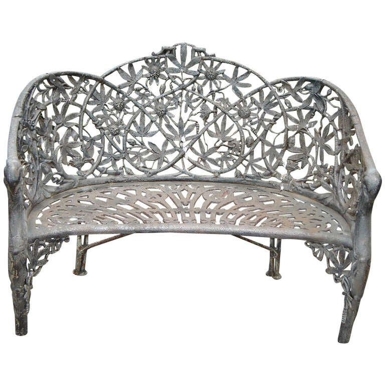 19th century cast iron garden bench at 1stdibs Wrought iron outdoor bench