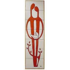 Large Mid-Century Modern Tile Art